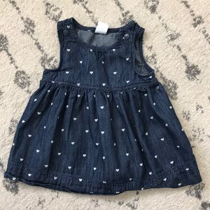 🍎 3 for $12 - Baby Gap Denim Polka Dot Dress